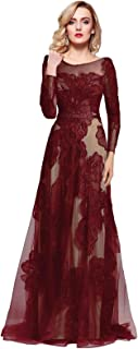 Women's Long Sleeve Illusion Back Embroidery Lace Evening Dress