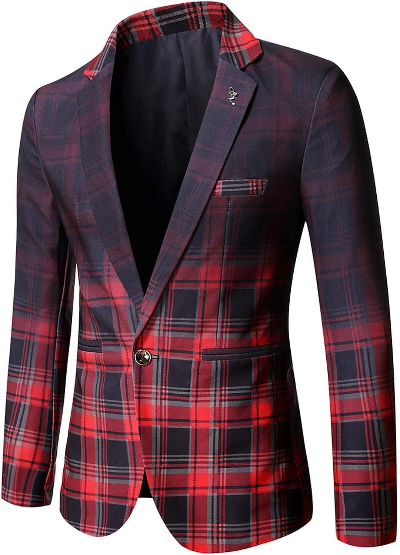 Men's Dress Plaid Suit Gradient Color Wide Lapel Blazer Top Long Sleeve Single Button Jacket Coat