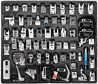 Nichseng Professional 62pcs Sewing Machine Sewing Foot Presser Foot Presser Feet Set with Manual & Plastic Storage Box for Singer, Brother, Babylock, Janome and Kenmore Low Shank Sewing Machines
