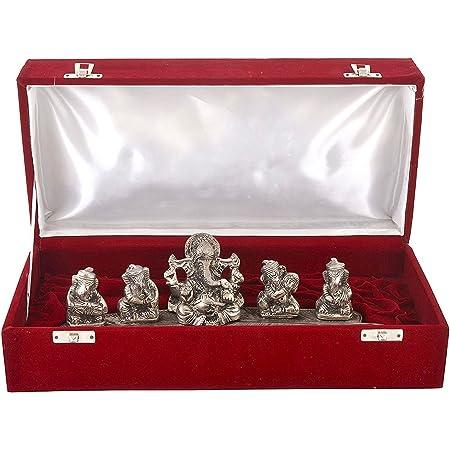 MSA JEWELS Oxidized Silver Plated Musical Ganesha with Velvet Box (Metallic)
