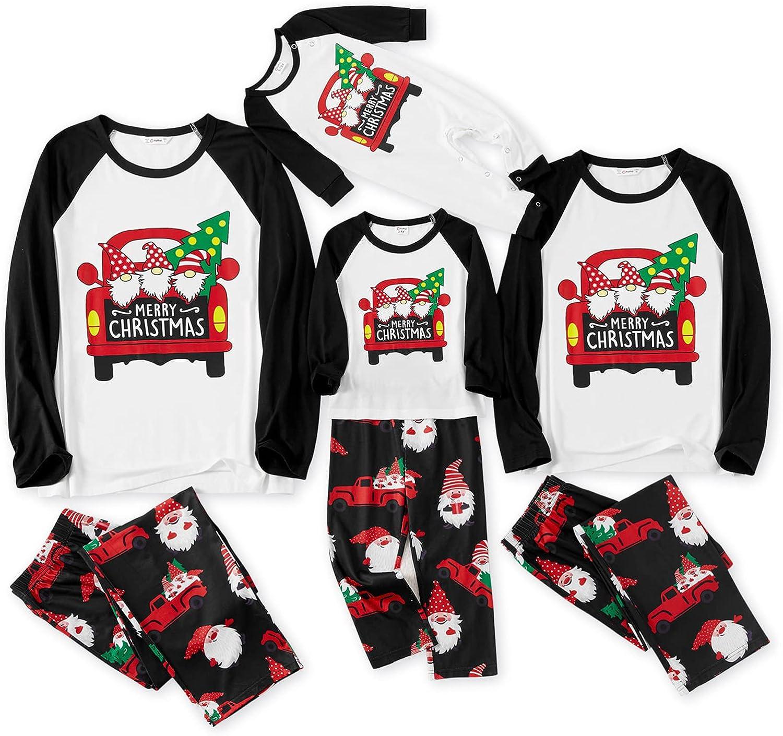 IFFEI Matching Family Pajamas Sets Christmas PJ's Santa and Car Print Long-sleeve Sleepwear
