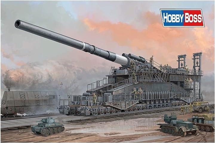 Modellismo dora cannon hobby boss 82911, cannone ferroviario dora, 80cm  dora cannon simil gustav cannon HY82911