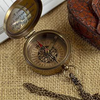 Calyron Brass Pocket Magnetic 2 Compass with Chain Nautical Boat Decor Antique Steampunk Style Engraved Gifts Directional Pirate Hiking Travel Camping Compass