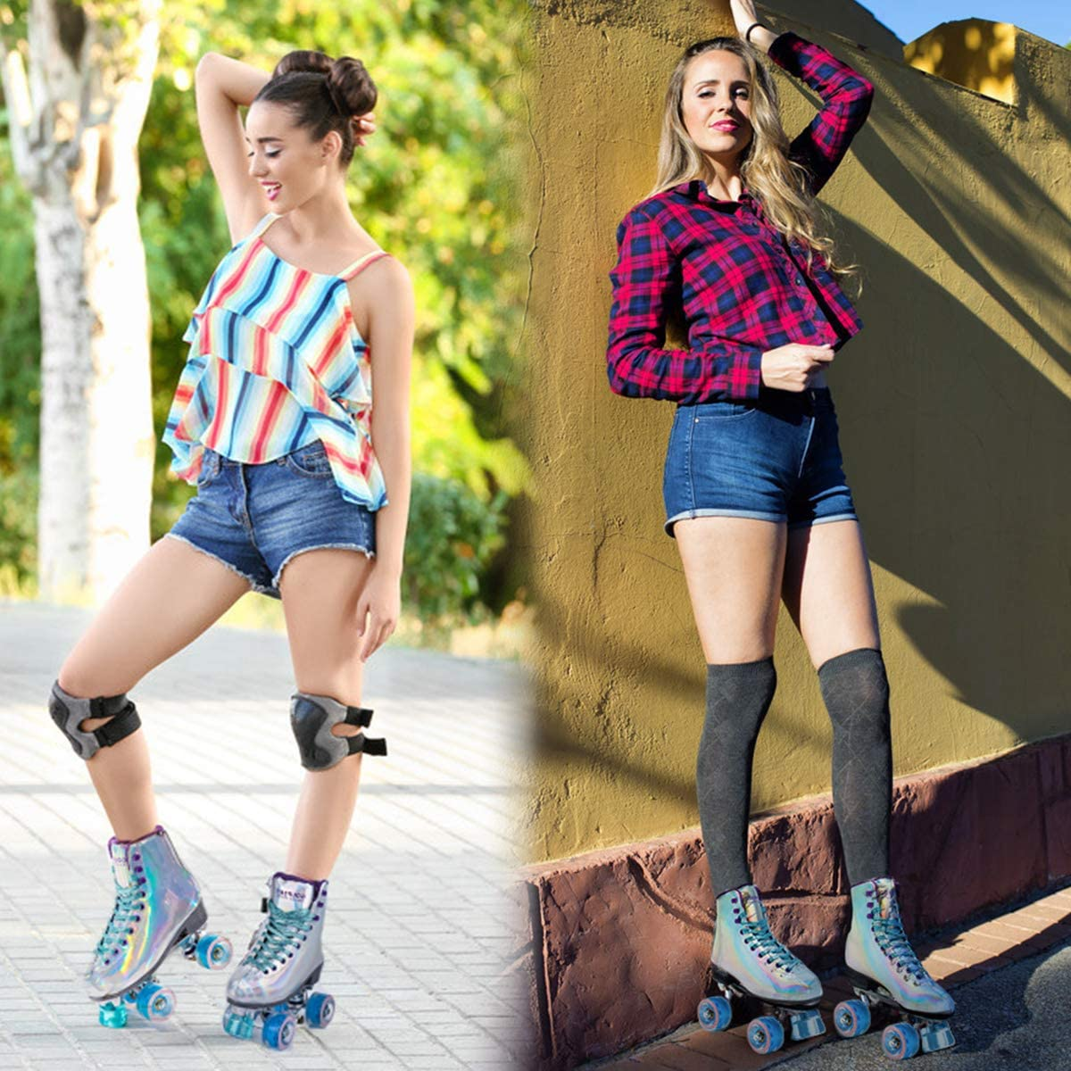 Goupsky Roller Skate Shoes for Women//Youth Retro 4 Wheels Quad Skates for Outdoor /& Indoor