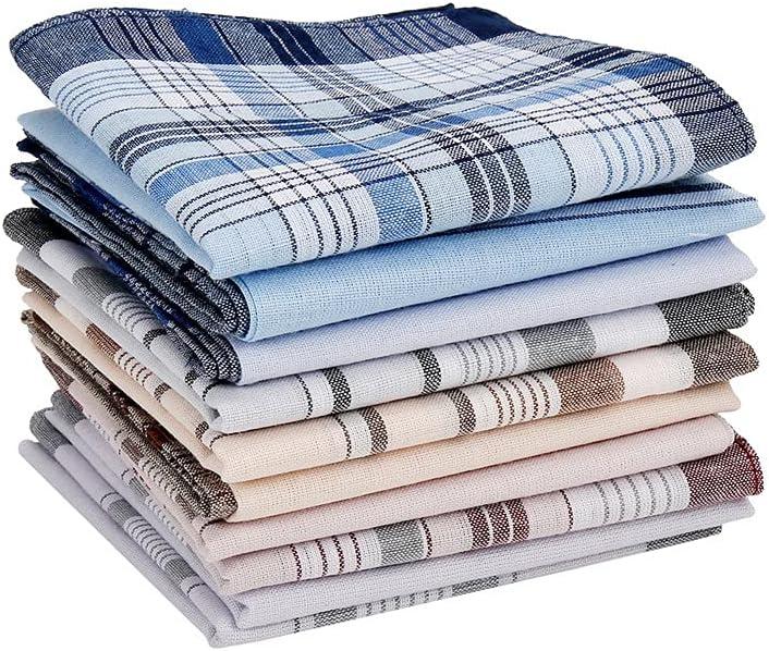 GYZCZX 10Pcs Square Multicolor Plaid Stripe Men Women Pocket for Wedding Party Business Chest Towel Handkerchiefs Scarves 3838cm