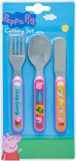 Peppa Pig 3 Piece Cutlery Set – Metal, Reusable Children's Knife, Fork & Spoon, Kids-Size, Made from Food-Safe Stainless S...