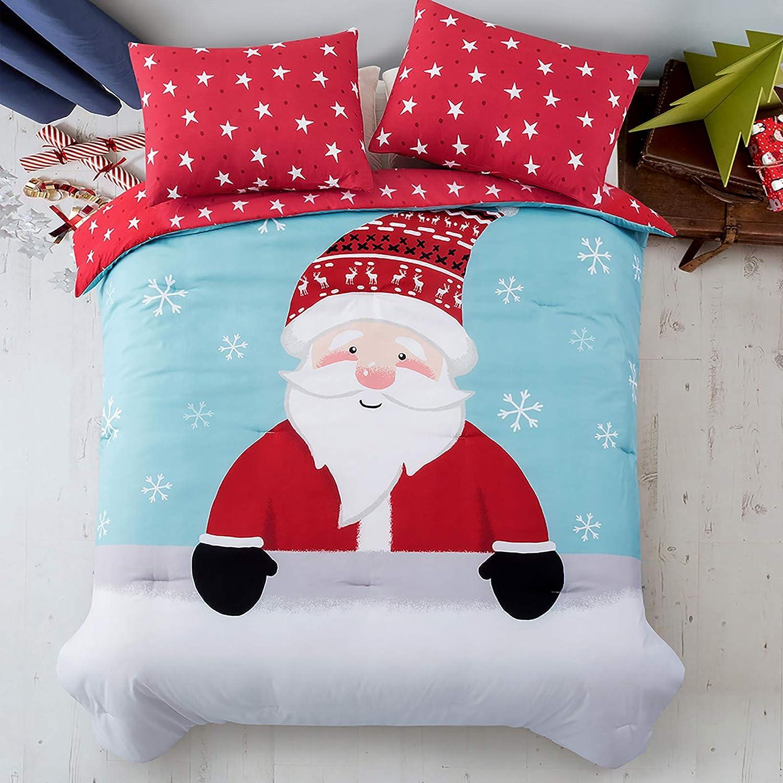 Lifeety 3 Piece Christmas Comforter Louisville-Jefferson County Mall Set trend rank Shams Santa 2 with Clau