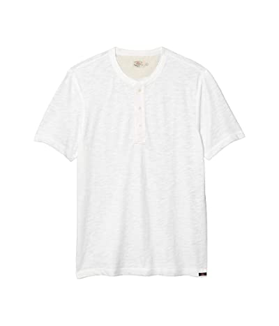 Faherty Short Sleeve Heather Henley (White) Men