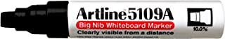 Artline 5109A Big Nib Extra Large Jumbo Dry Erase Whiteboard Markers (BLACK, Pack of 6)