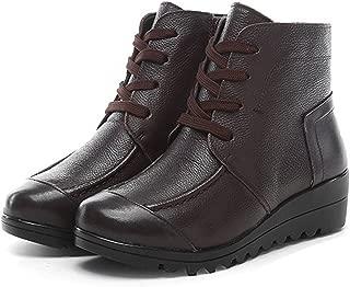Desirca Women Genuine Leather Winter Warm Plush Zip Ankle Boots Female Cotton Suede Lace Up Platform Wedge Shoes
