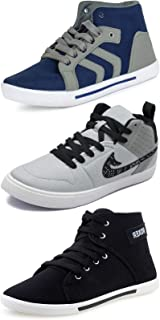 Ethics Men's Combo Pack of 3 Blue, Grey & Black Casual Sneakers Shoes for Men's (10)