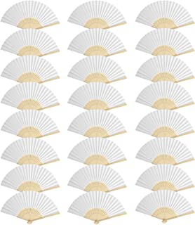 CUSFULL 24 Pack Hand Held Folding Paper Fans Handheld Bamboo Fans for Wedding/Party/Party Favours/Decoration (White)