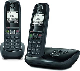 Gigaset AS470A Duo - Teléfono (Teléfono DECT, Terminal inalámbrico, Altavoz, 100 entradas, Identificador de Llamadas, Negro)