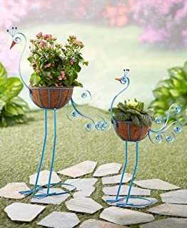 The Lakeside Collection Set of 2 Bird Planters Peacock