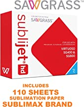 Sublijet HD Ink Cartridge. Cyan Color. for Sawgrass SG400 and SG800 Printers. Bundle with 110 Sheets of SUBLIMAX Sublimation Paper Made in Japan.