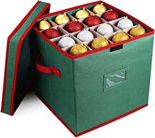 Cabilock Foldable Christmas Ornament Storage Box, Tear Proof 600D Oxford Fabric Handle Cube Lid Storage Container, Keeps 64 Holiday Ornaments, Xmas Baubles Decorations Accessories with Two Handles