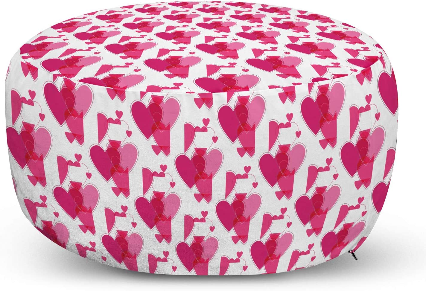 Ambesonne Valentine's Day Ottoman Free Shipping Cheap Bargain Gift Pouf Monochrome Complete Free Shipping Pattern Style