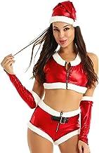 Agoky Traje Navideño para Mujer Conjunto de Santa Disfraz de Mamá Noel Camiseta Corta con Mini Shorts Sombrero Ropa Fiesta Chiristmas Nochebuenas