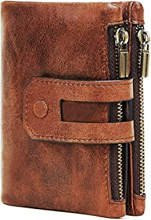 Tuxiaobu Genuine Leather Wallet, RFID Blocking Bifold Double Zipper Wallet,Large Capacity For Men ID Window Coin Pocket Ge...