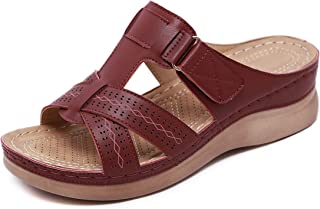 Ladies Faux Leather Peep Toe Sandals Mid Wedge Heel Slip On Mules Women Lightweight Soft Comfy Summer Sandal