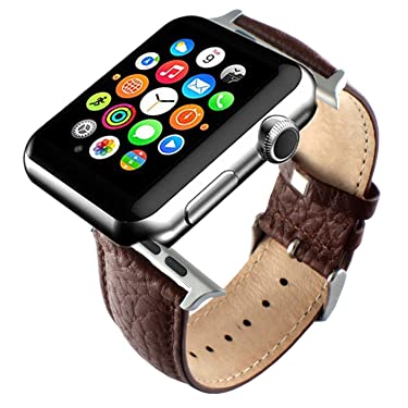 Replacement Brown Genuine Leather Strap Band Compatible with Apple Watch iWatch 42mm with Adaper
