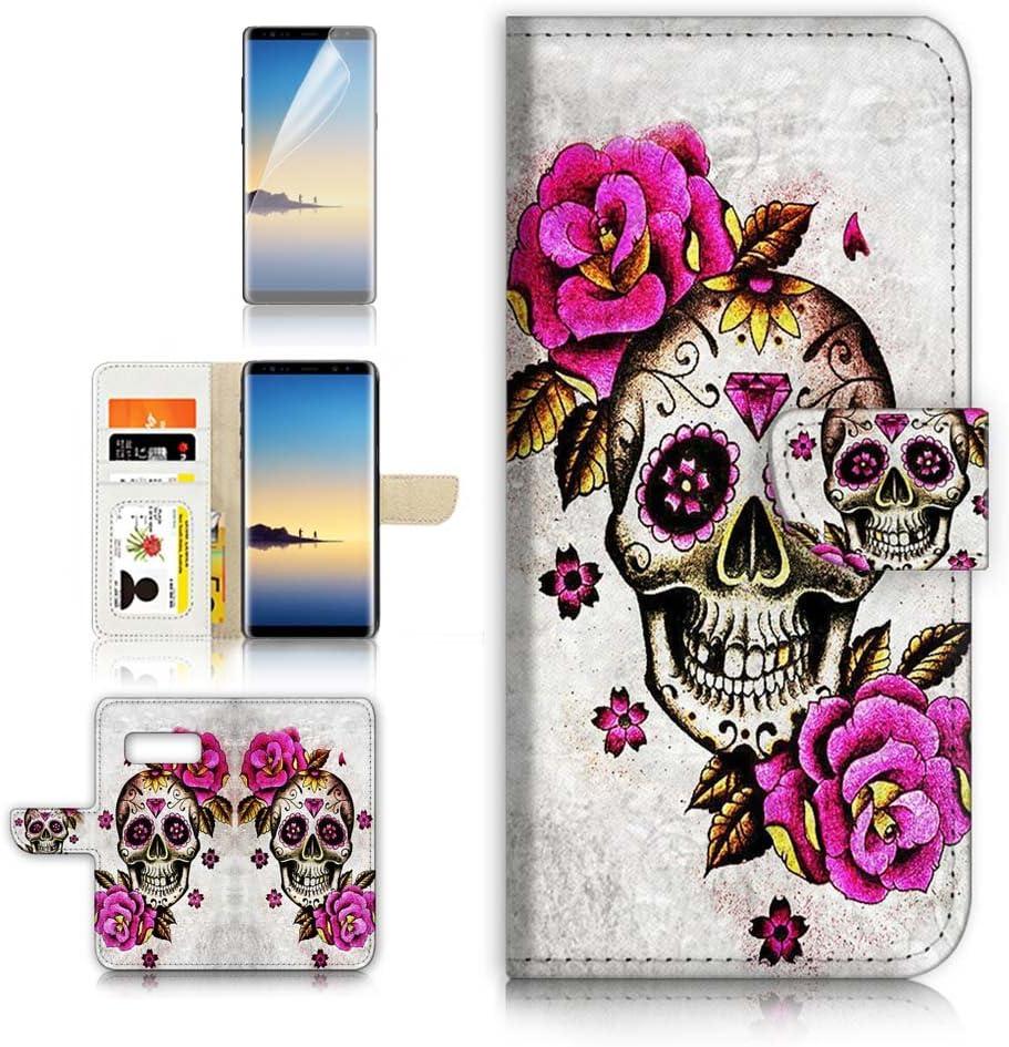 (for Samsung Galaxy S10e) Flip Wallet Case Cover & Screen Protector Bundle - A4141 Sugar Skull
