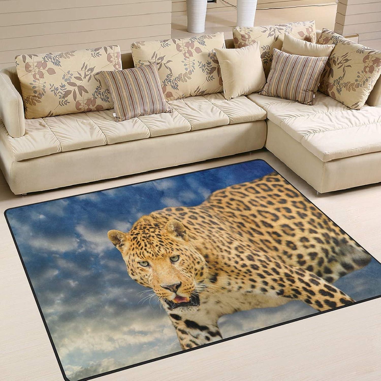 Hipster Animal Leopard bluee Sky for Floor Mat Rug Indoor Front Door Kitchen and Living Room Bedroom Mats Rubber Non Slip