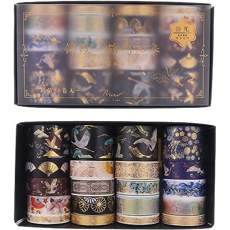 SUI-lim 20 RouleauxWashi Tape Doré Style Chinois Ancien Grue des Fées Ruban Scrapbooking Masking Decorative Tape Papier Washi Bricolage pour Les Arts