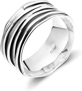 SOMEN TUNGSTEN خاتم عريض 10 ملم 925 خاتم تموج الإبهام للرجال النساء الحجم 5-12