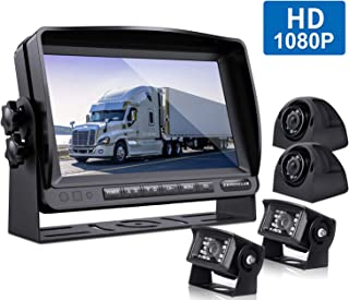 ZEROXCLUB Wired Backup Camera Kit,1080P FHD Reverse Rear Side View Camera, IP69 Waterproof Night Vision Reverse Camera + 9'' Monitor for Truck/Semi-Trailer/Box Truck/RV-Y904,