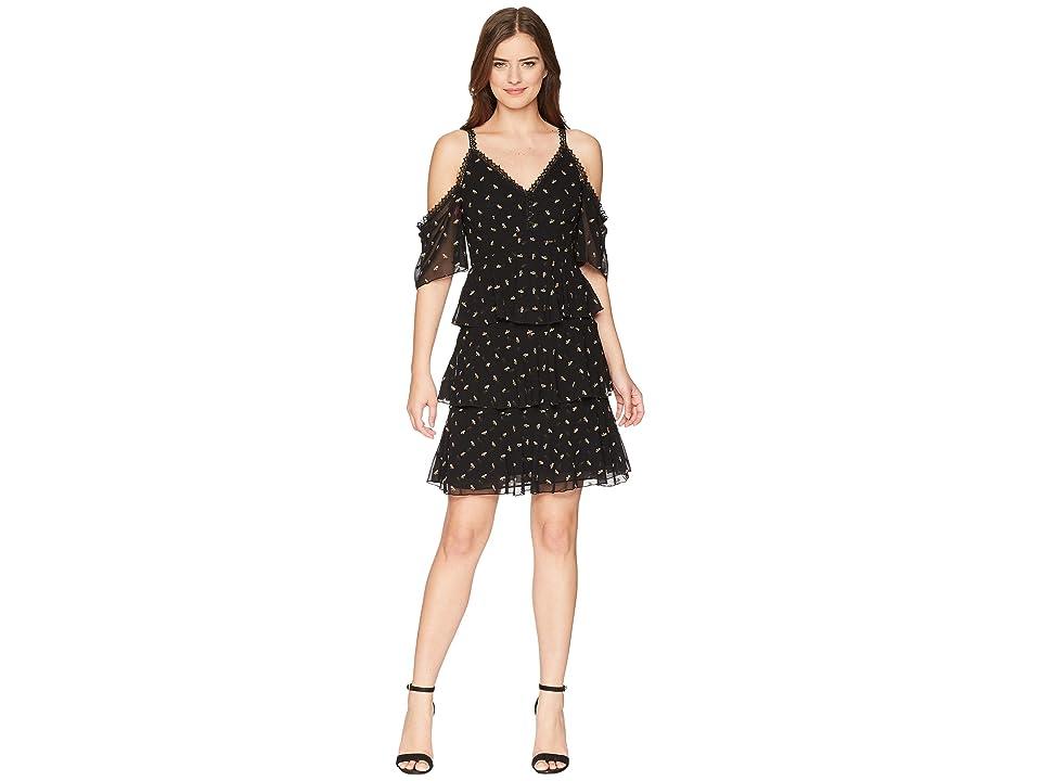ML Monique Lhuillier - ML Monique Lhuillier Cold Shoulder Floral Printed Dress