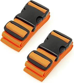 BlueCosto Luggage Strap Suitcase Straps Belts Travel Accessories, 2-Pack, Orange