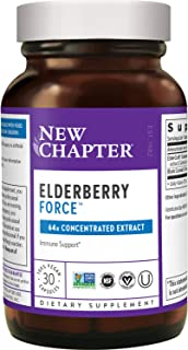 New Chapter Elderberry Capsules, Elderberry Force, with 64x Concentrated Black Elderberry + Black Currant for Immune Suppo...