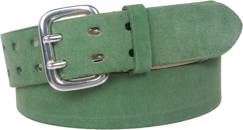 1 1 2  Women's Plain Soft Suede Leather Double Prong Dress Belt, Green   S  32