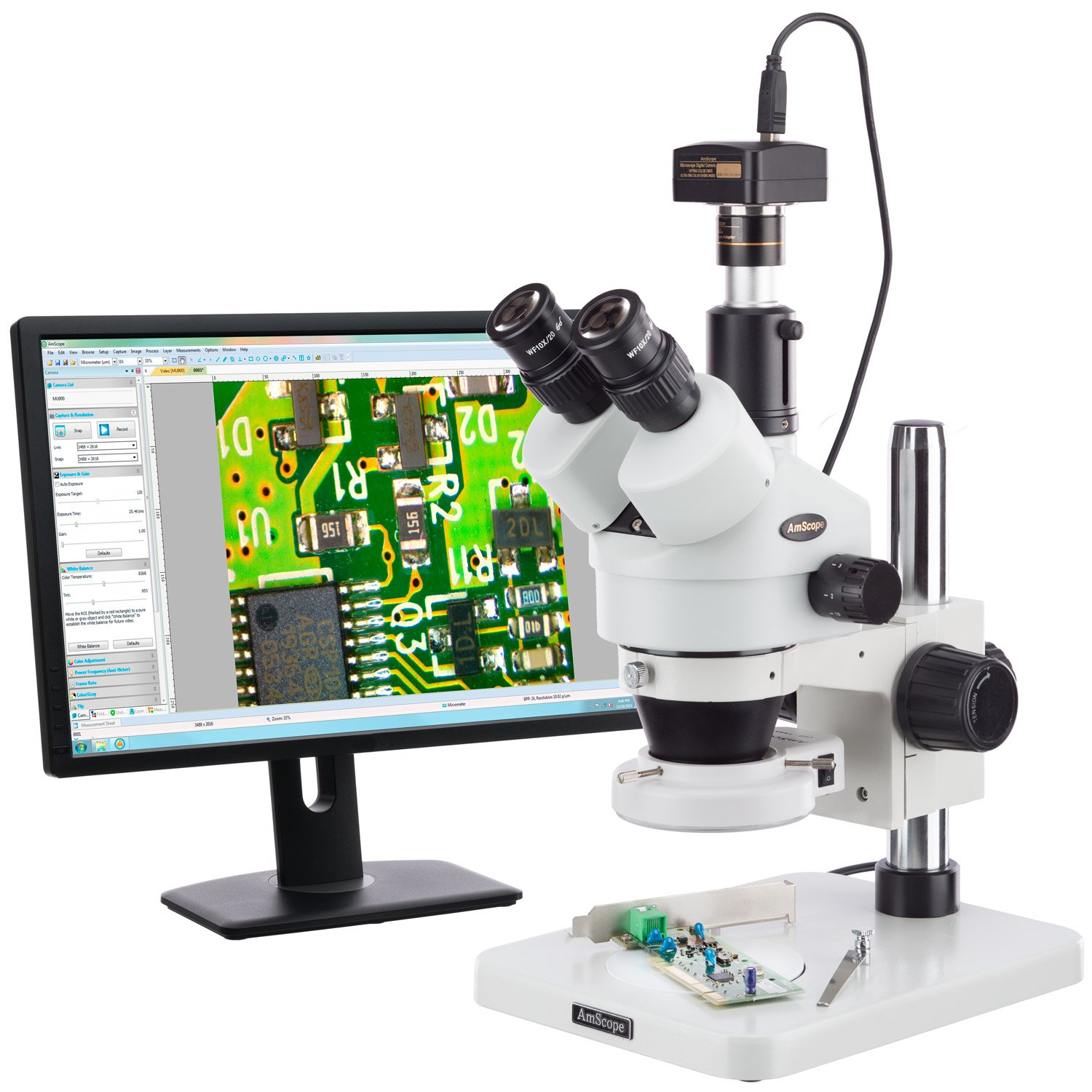 AmScope New color 7X-45X Surface Inspection Microscope Today's only Zoom Stereo 144-LED