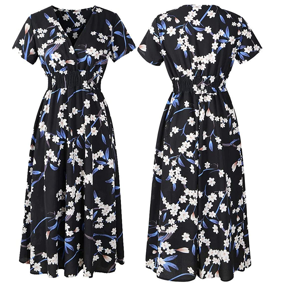 Neferlife v-Neck Dresses for Womens Holiday Floral Print Dress Ladies Summer Beach Party Dress