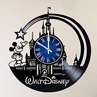 Disney Art 12 INCH/30 CM Vinyl Record CLOCK - Modern Large Walt Disney Mickey Mouse and Minnie Mouse Art - GIFT FOR GIRLS - Gift idea for children, teens, adults