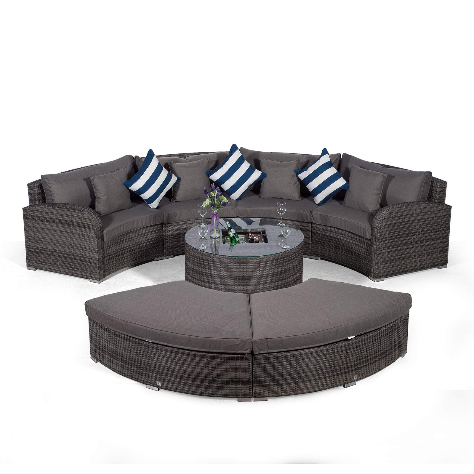 Set Giardino In Polyrattan.Giardino Riviera 4 Seat Grey Poly Rattan Garden Furniture Set