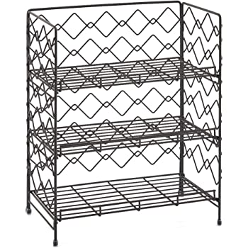 Rustic Brown Wire Basket Storage Container Countertop Shelf for Kitchenware Bathroom Cans Foods Spice Office and more EZOWare 2-Tier Organiser Rack