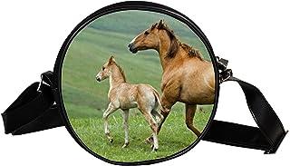 Yuzheng Umhängetasche Umhängetasche Pferd Dämmerung Silhouette Süße runde Tasche für Jungen Mädchen 17cm