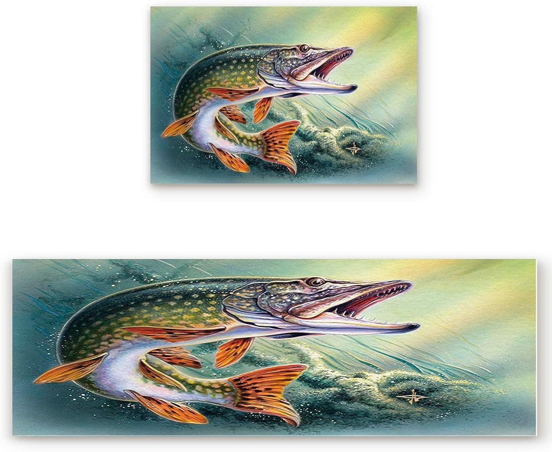 Savannan 2 Piece Non-Slip Kitchen Bathroom Entrance Mat Absorbent Durable Floor Doormat Runner Rug Set - Jumping Fish