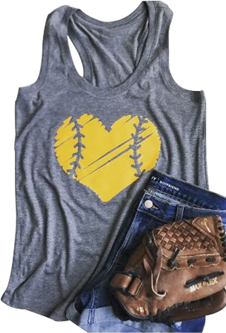 YUYUEYUE Baseball Mom Heart Print Women's Discount mail 25% OFF order Top Casual Tank Funny