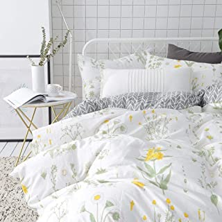 VClife Twin Floral Duvet Cover Sets Cotton Yellow White Botanical Bedding Sets for Girl Woman -Reversible Arrow Printed Gr...