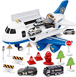 FunLittleToy Airplane Toys with 6 Police Die-cast Toy Cars and Accessories, Police Airplane Play Vehicle Set for Kids Gifts
