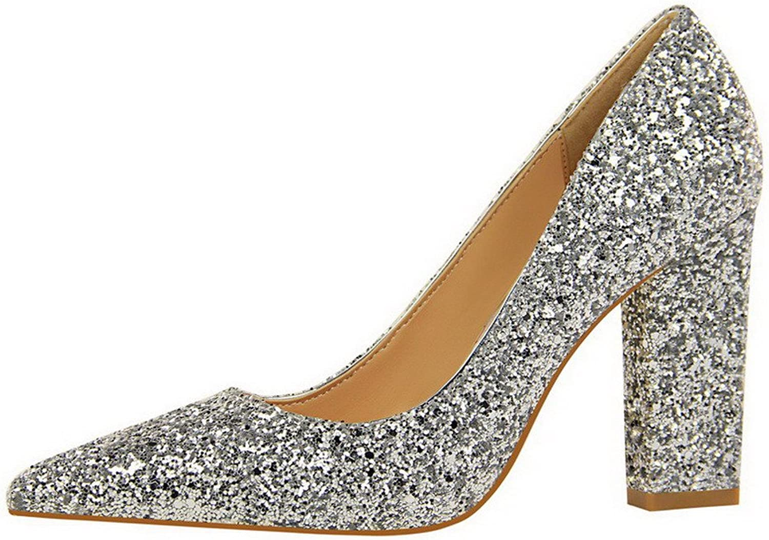 WeenFashion Women's Sequins Closed-Toe High-Heels Pull-On Solid Pumps-shoes