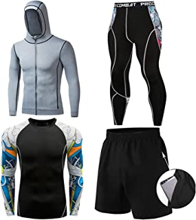 Casual Sweat Suit Long Sleeve Tight Men's Sports Suit High Elasticity Sweat-Wicking with Stylish Design,Fits for All Seaso...
