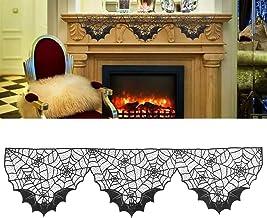 LUOEM Decoração de Halloween Preto Renda Aranha Morcego Renda Teia de Aranha Lareira Manta Cachecol Capa de Teia de Aranha...