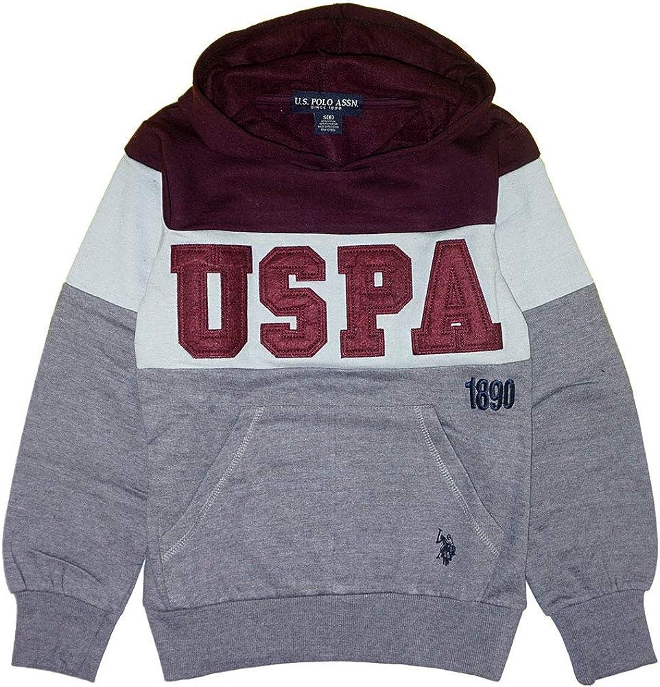 U.S. Polo Assn. Boys' Popover Fleece Hoodie (7, Injection Color Block Medium Grey)