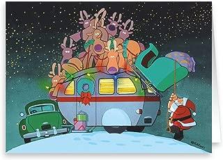 Camper and Santa Christmas Card - 18 Christmas Cards & 19 Envelopes - Cute Camping Trailer Christmas Card