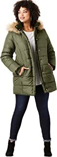 Women's Plus Size Classic-Length Quilted Parka with Hood